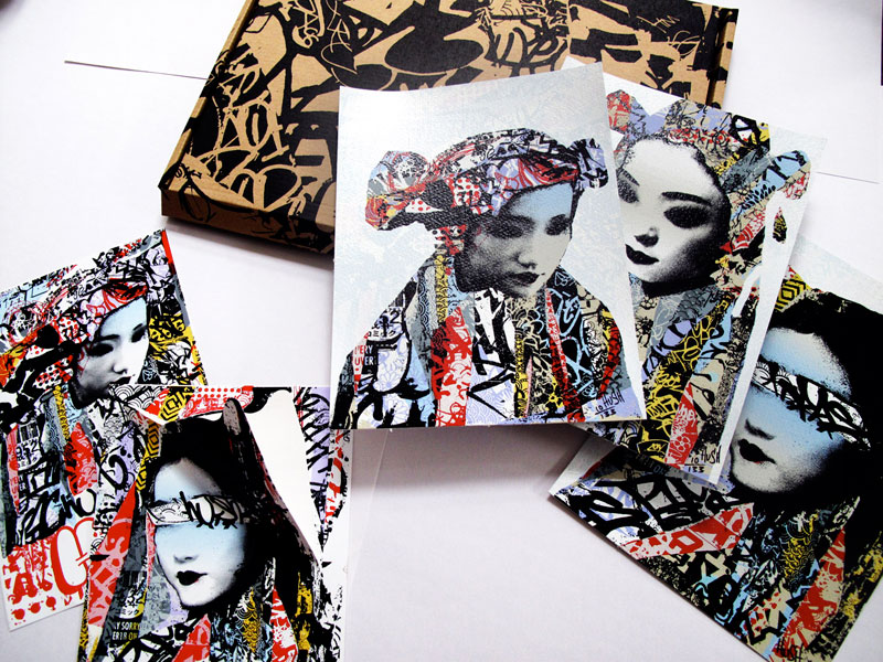 Hush geisha masked print sticker set