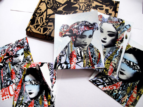 Geisha Masked Print & Sticker Set Print by Hush