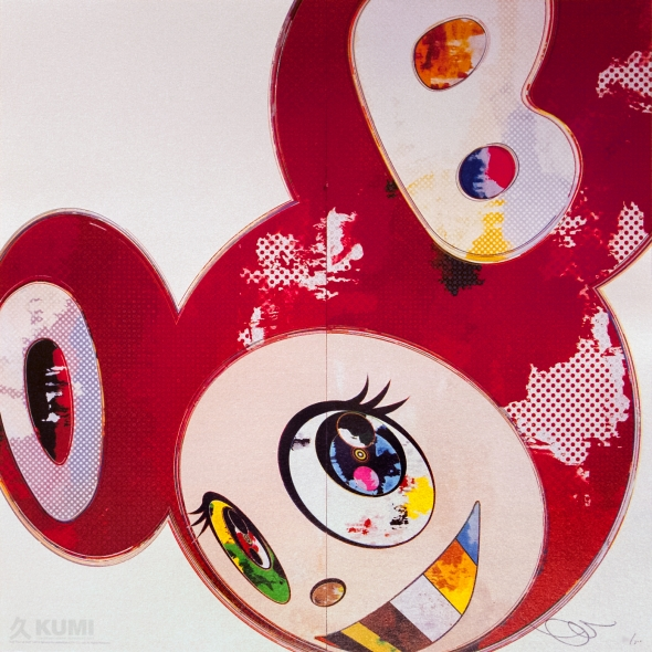 And Then x6 Red Print by Takashi Murakami