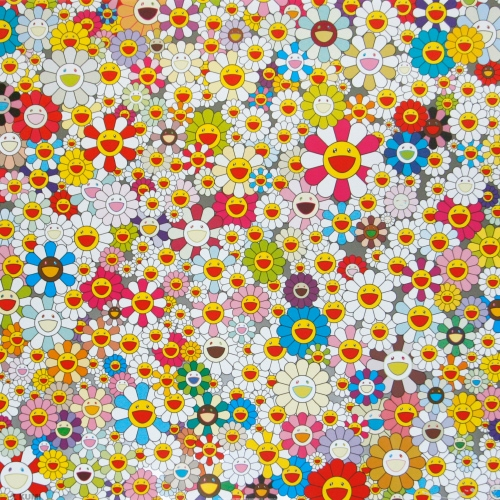 Field of Smiling Flowers Print by Takashi Murakami