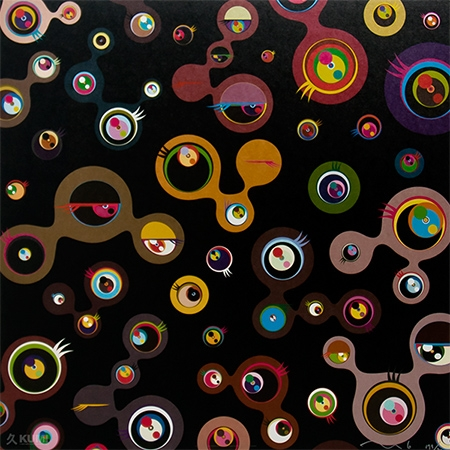 Jelly Fish Eyes Black 4 Print by Takashi Murakami