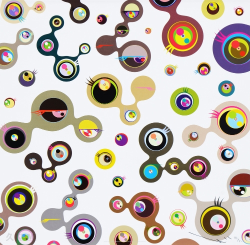 Jellyfish Eyes White Print by Takashi Murakami