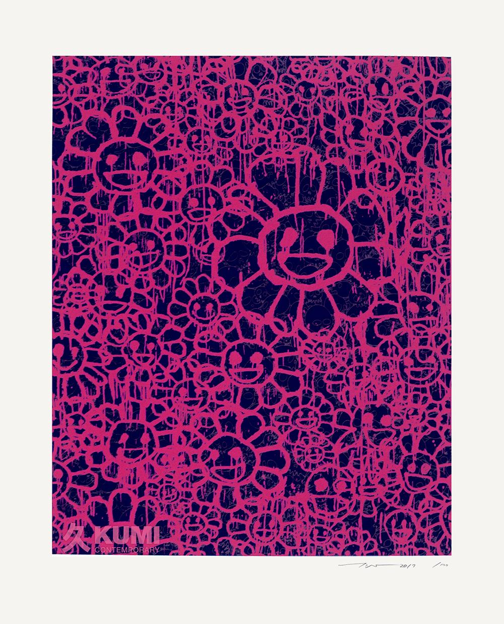 Takashi Murakami X Madsaki Flowers Black Pink C Silkscreen Print